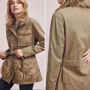 NWT Anthro Saskia Fur Trimmed Olive Green Jacket
